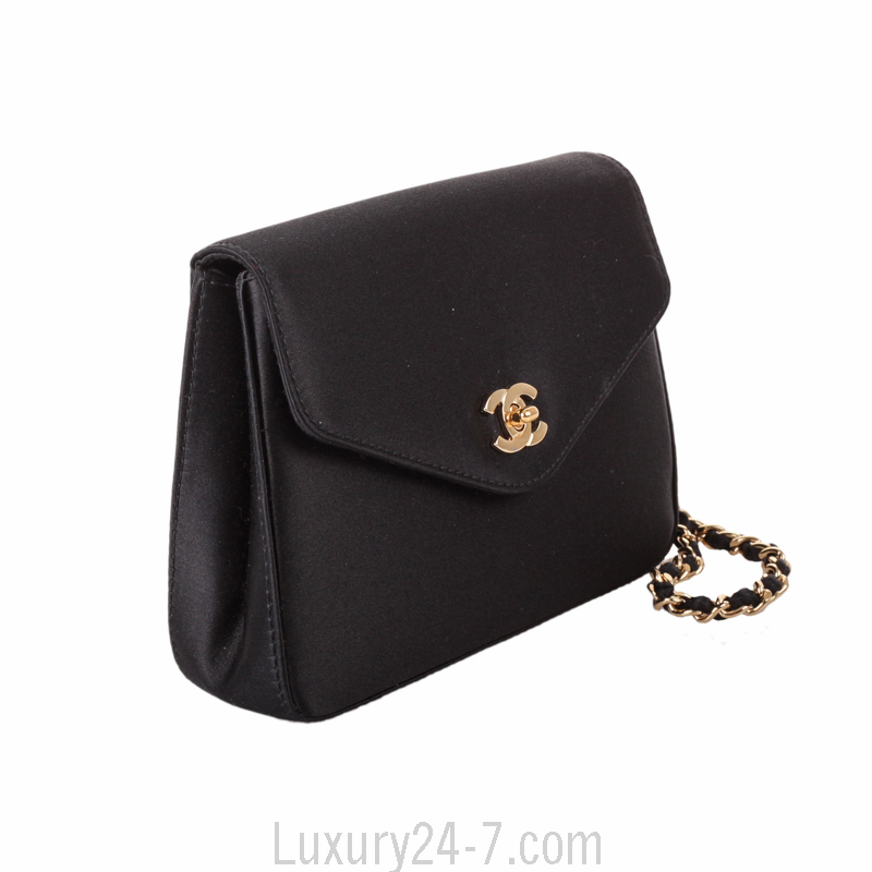 Chanel Black Satin Evening Clutch | EBay