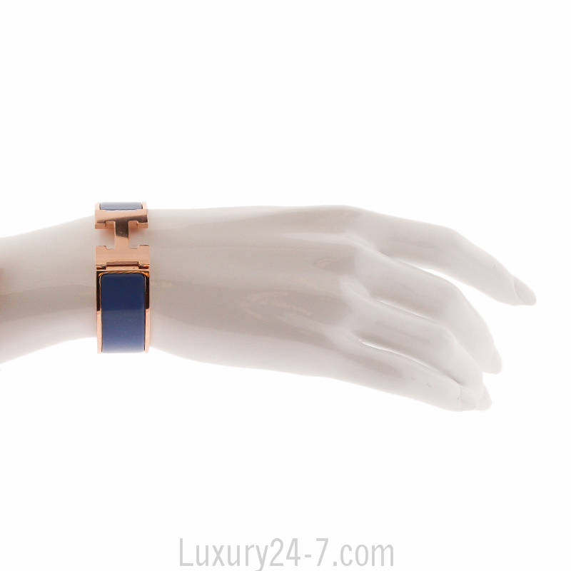 Details about Hermes Bleu Turquin Rose Gold Wide Clic Clac