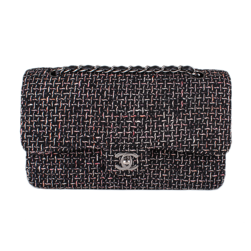553ec6954505 CHANEL Black Tweed Classic Medium Double Flap Bag