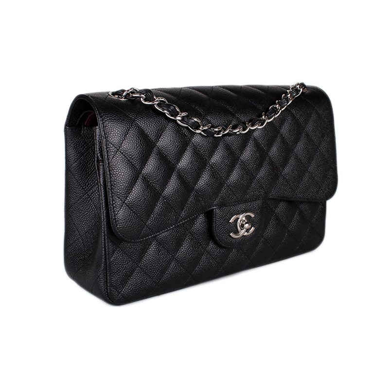 407620b8b2c5 We guarantee this is a genuine Black quilted Caviar leather Chanel Classic  Jumbo Flap Bag with silver-tone hardware