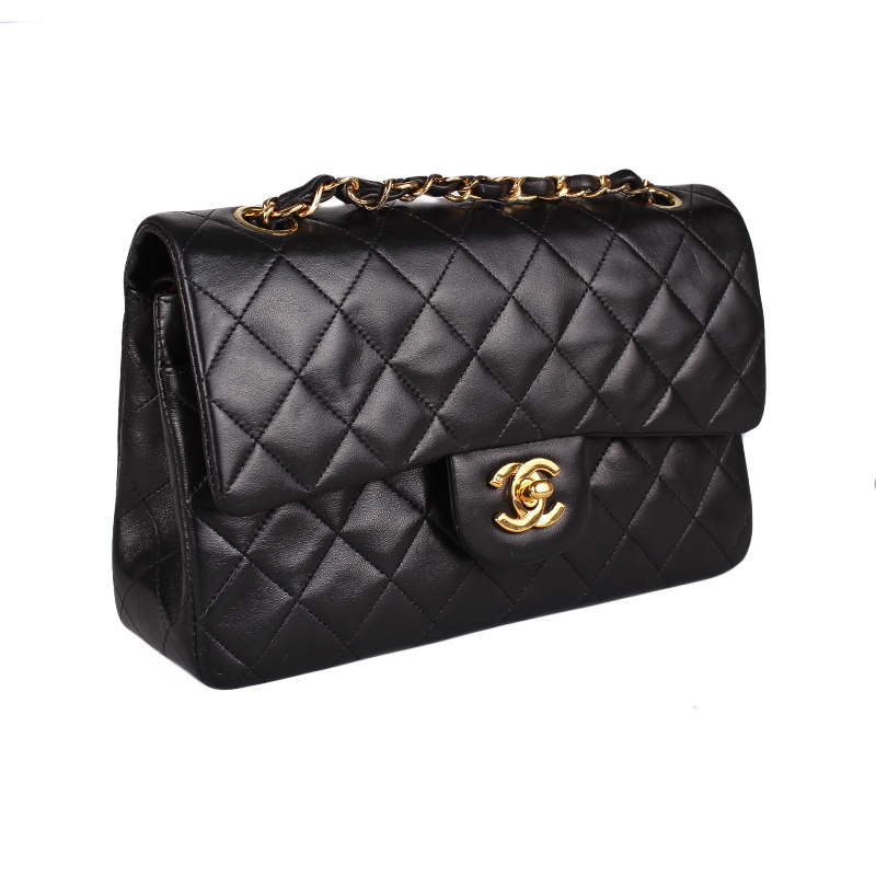 9daff5f835aa We guarantee this is a genuine Black quilted vintage lambskin leather  Chanel Classic Medium Double Flap bag with gold-tone hardware