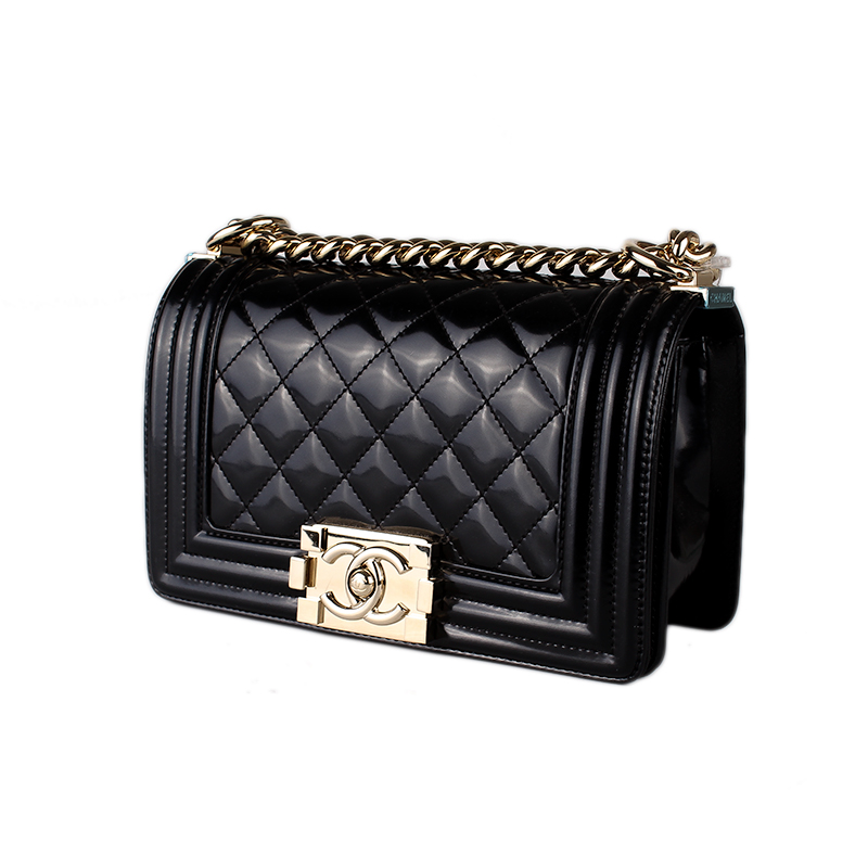 6535b96eb2b2 We guarantee this is a genuine quilted patent leather Chanel Small black  Boy bag with gold wash hardware, single convertible chain-link shoulder  strap with ...