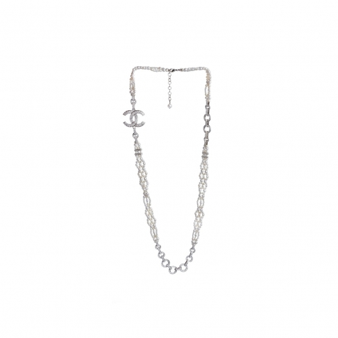 Chanel Resin  and Faux Pearl Fall/Spring 2021 Collection with Faux Diamond Chain Link
