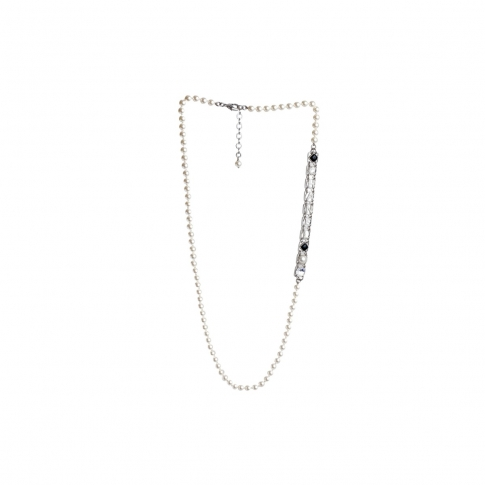 Chanel Faux Pearl & Resin Necklace Fall/Spring 2021 Collection with Faux Diamond Chanel Lettering