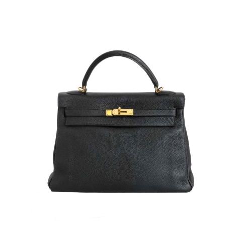 Hermès Black Clemence Leather Kelly 32