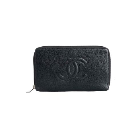 Chanel Vintage Timeless Caviar L-Gusset Continental Wallet