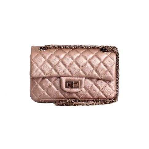 Chanel 2021 Metallic Rose Gold Grained Calfskin 2.55 Reissue Mini Flap