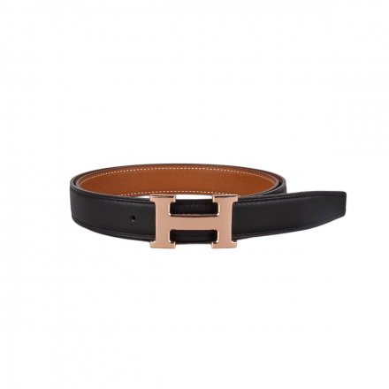 Hermès Gold/Noir Reversible Mini H 24mm Belt Kit