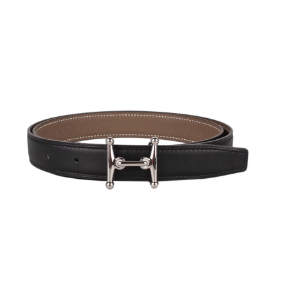 Hermès Etoupe/Black Mors H Belt and Buckle