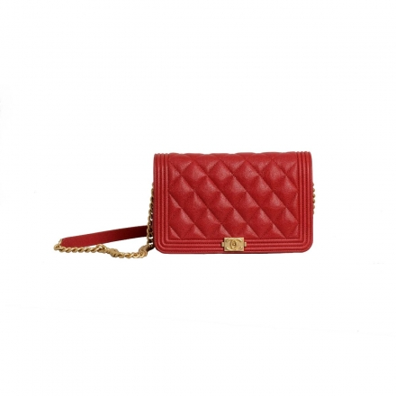 Chanel Red Caviar Boy Wallet On Chain