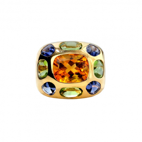 Chanel Coco Multicolor Gemstone Dome 18K Ring