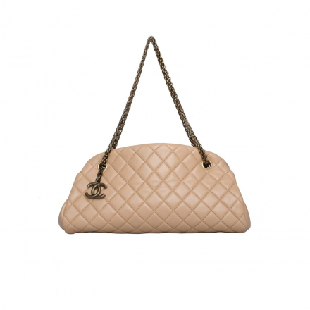 Chanel Tan Quilted Leather Just Mademoiselle Bag Medium