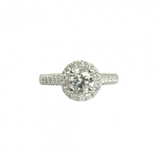 GIA 1.00 ct Round F SI1 Diamond Halo 18K Ring
