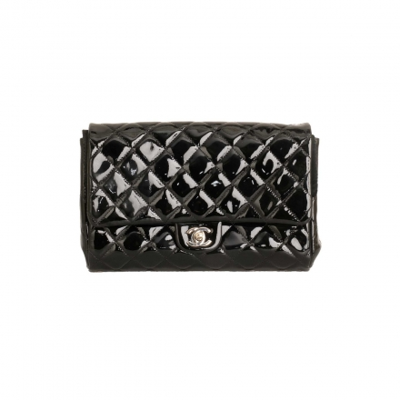 Chanel Black Patent Quilted Leather Envelope Clutch