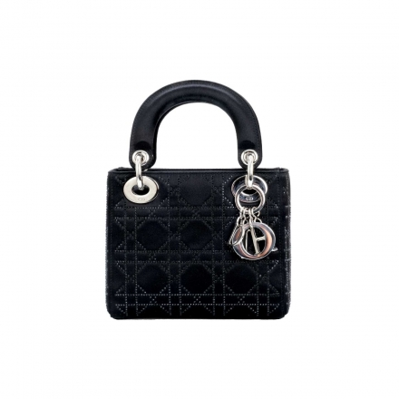 Dior Black Embellished Mini Quilted  My Lady Dior