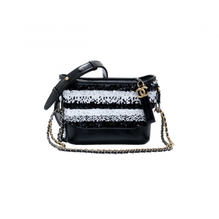 Chanel Black and White  Sequin Gabrielle Bag Small