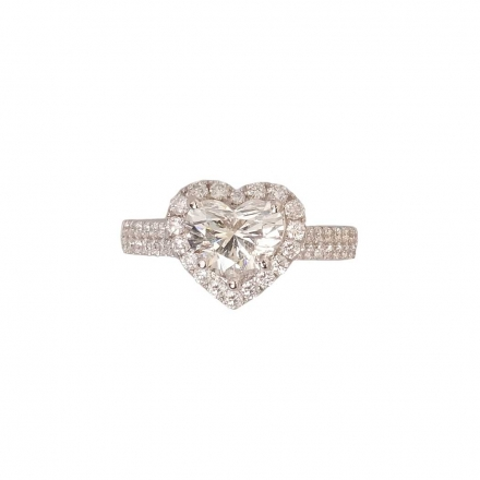 1.57 ct 18K Diamond Halo Heart Shape Engagement Ring