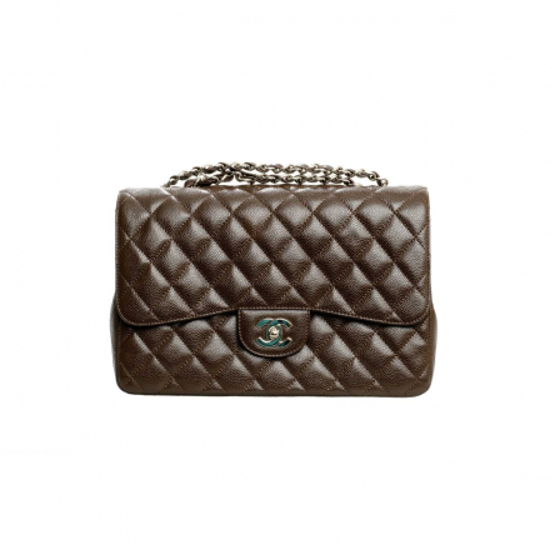 Chanel Brown Caviar Classic Jumbo Single Flap