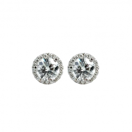 1.50ctw Halo Diamond 18K Earring