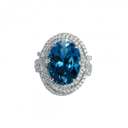 11.65ct Blue Topaz Halo Diamond