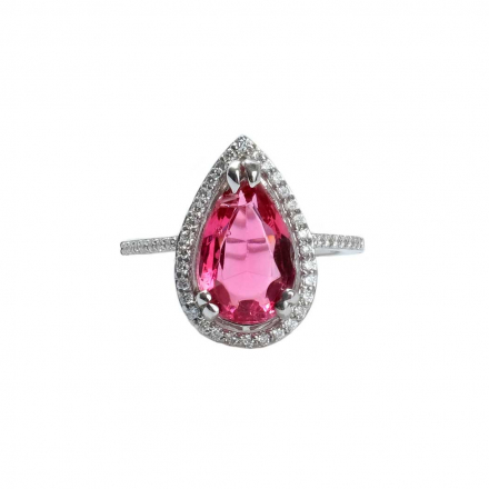 4.19ct Pink Tourmaline Pear Halo Diamond