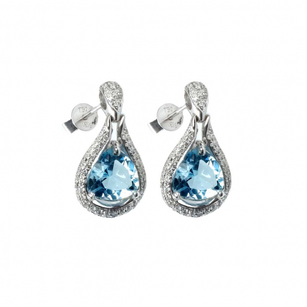 4.51ctw Aquamarine Drop Diamond earring