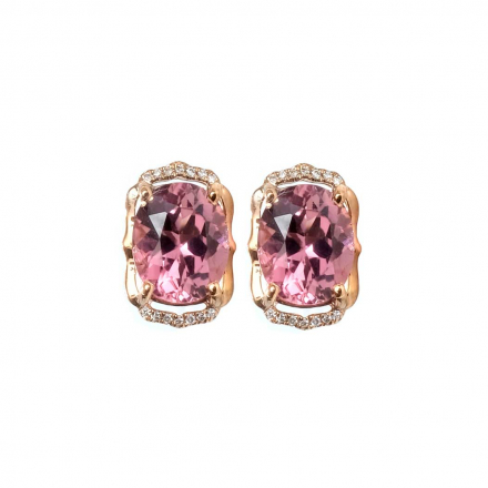 8.02ct Pink Oval Tourmaline Diamond earrings 14K