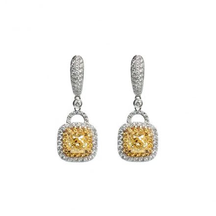 2.26ct GIA Square Modified Brilliant Fancy Yellow Earring Drops