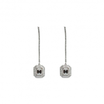 2.3ctw Emerald Halo Diamond Drop Earring