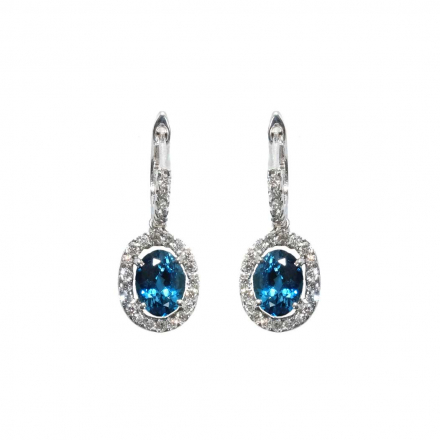4.89ct Oval Blue Topaz Drop Earring with Halo Diamond 14K