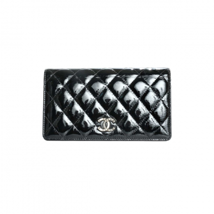 Chanel Black Pantent Classic Quilted Wallet