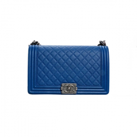 Chanel Blue Caviar Quilted Large Boy Bag